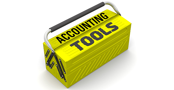 Toolbox with the words ACCOUNTING TOOLS