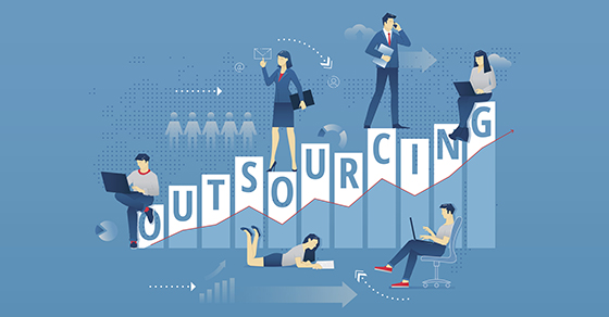 Outsourcing graphic with business people