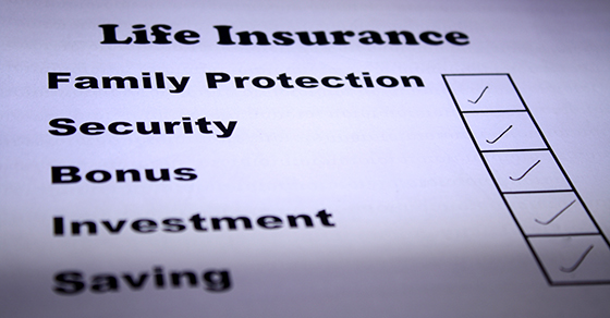 Paper with Life Insurance and a checklist of Family Protection, Security, Bonus, Investment, Saving