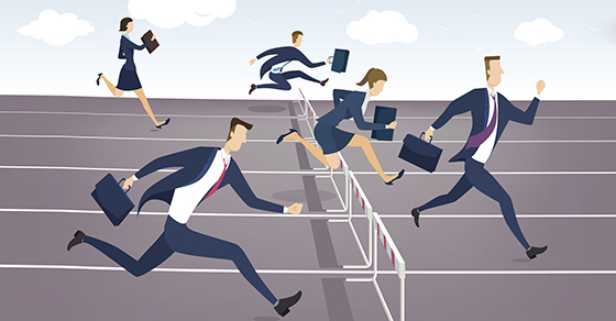 Illustration business people running hurdles race