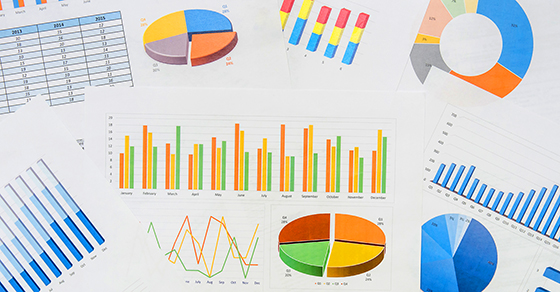 Different pie charts, bar charts and graphs