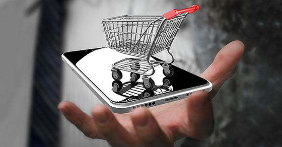 Shopping cart on mobile phone