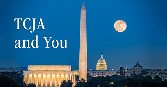TCJA and You and Washington Monument at night