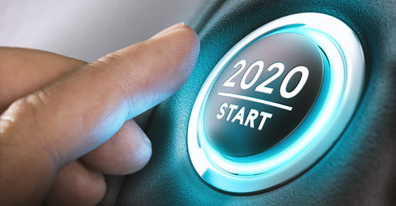Power button that reads 2020 START