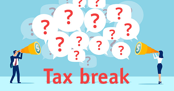 Illustration of man and woman shouting question marks about tax breaks