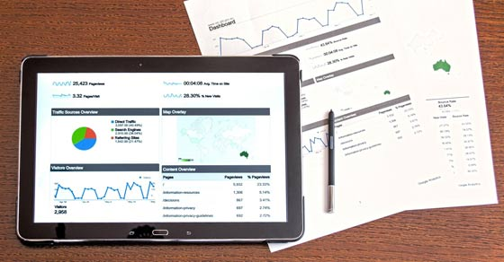 Tablet with graphs and charts