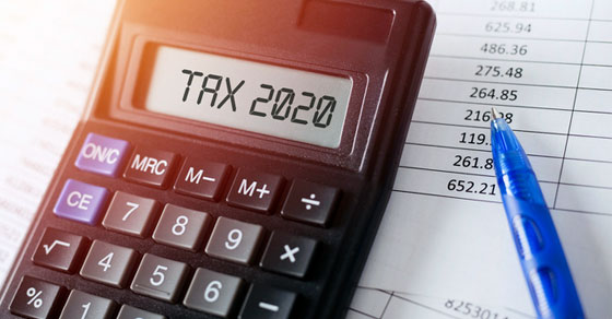 Calculator that reads TAX 2020 with spreadsheets
