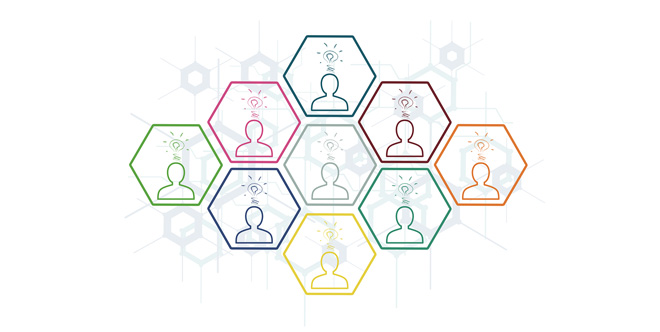 Illustration hexagons outlines of people