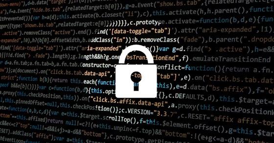 Illustration of padlock over computer code
