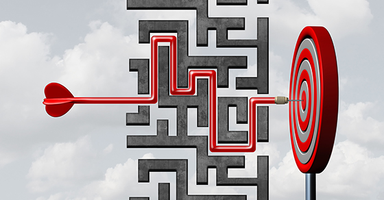 Arrow through a maze to bullseye