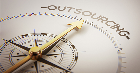 compass pointing to the word OUTSOURCING