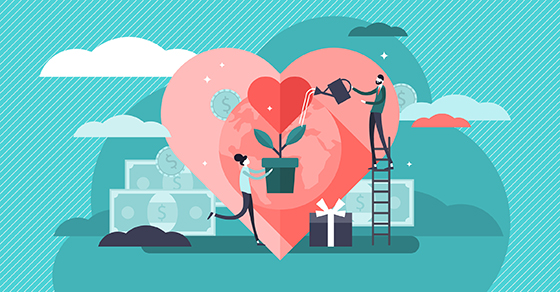 Illustration of a heart as a plant and a couple watering it.