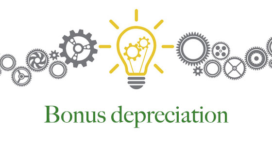 Light bulb with gears inside and the words Bonus Depreciation under