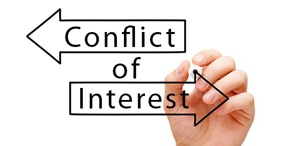 """Two arrows pointing in opposite directions. They read """"Conflict of Interest"""""""