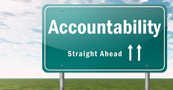 """Road sign that reads """"Accountability Straight Ahead"""""""