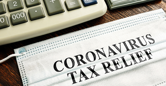 "Mask reads ""Coronavirus Tax Relief"""