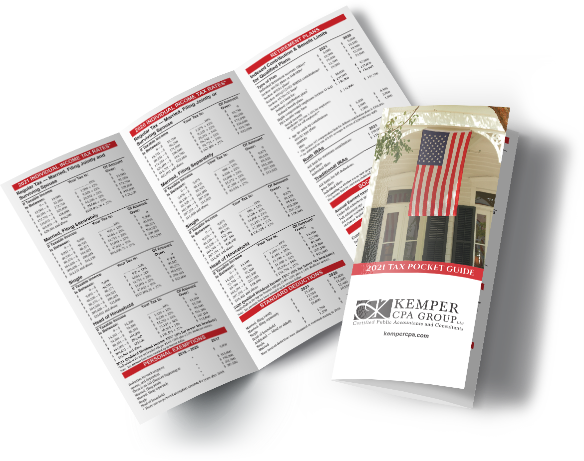 A preview of the 2021 Tax Pocket Guide tri-fold brochure