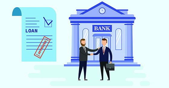 Illustration two business men outside a bank shaking hands