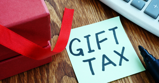 Gift Tax written on a note