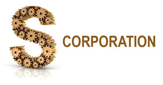 S Corporation spelled with gears