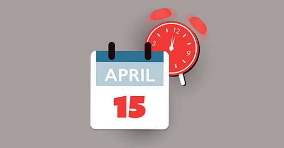 Calendar icon with a date of April 15 with an alarm clock icon behind it