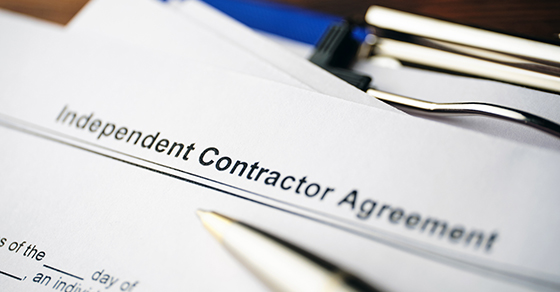 Independent Contractor Agreement on the top of a page