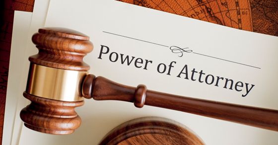 Power of Attorney on paper with a gavel