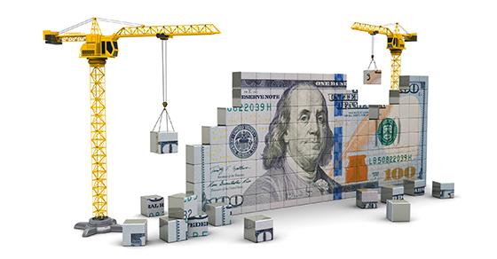 Cranes assembling a 100 dollar bill