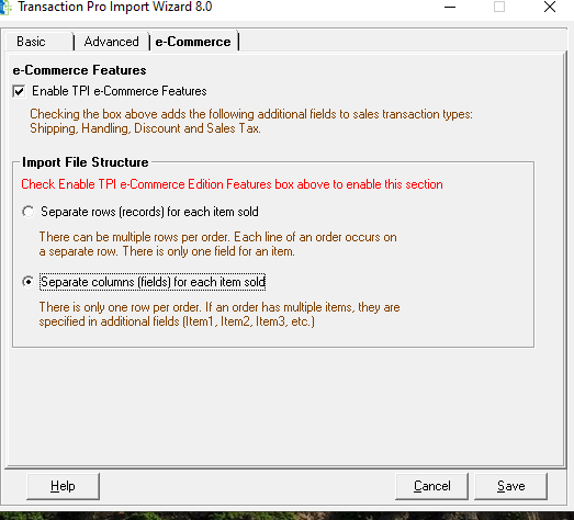 Enable TPI E-Commerce Features Dialogue Box