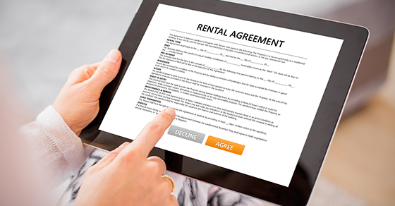 Generic Rental Agreement on a tablet