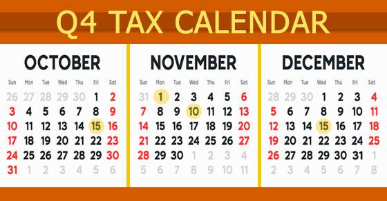 October, November, December calendar